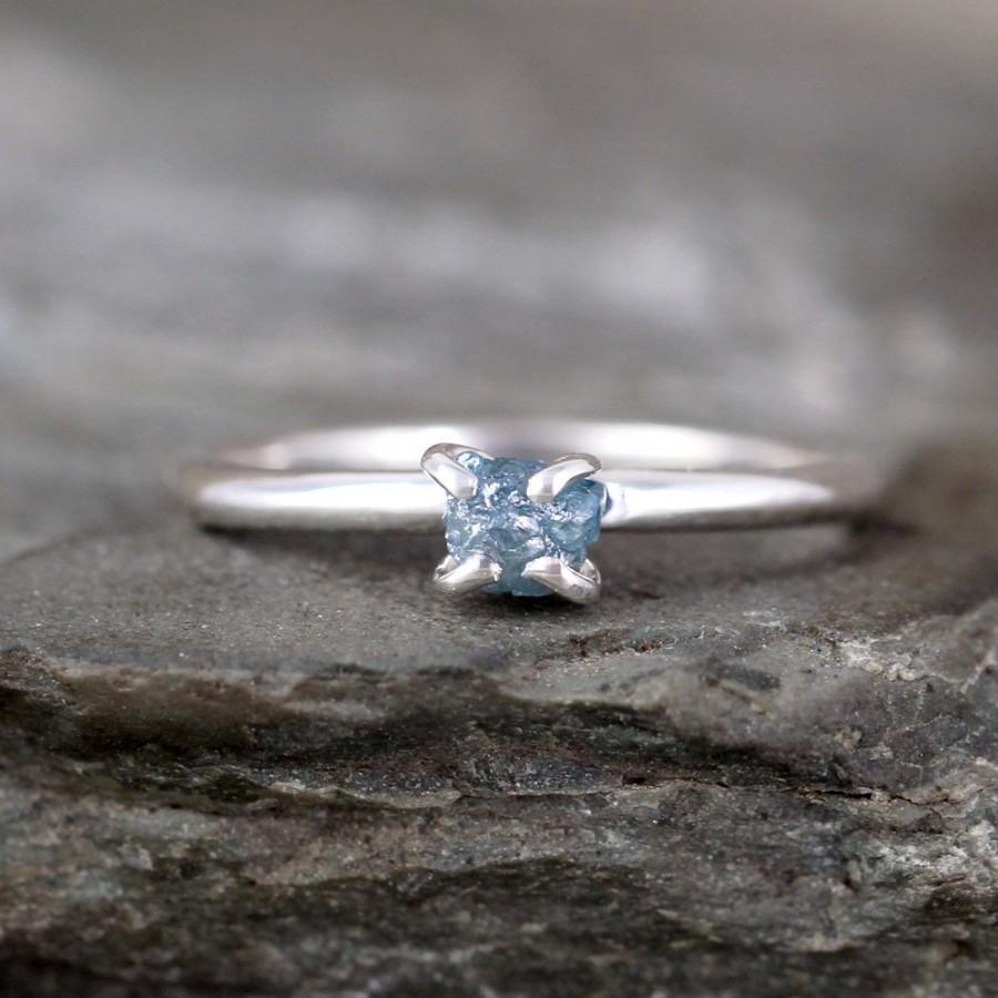 زفاف - Blue Diamond Ring -  Raw Uncut Rough Diamond - Engagement Rings -  Sterling Silver -  Stacking Ring - April Birthstone