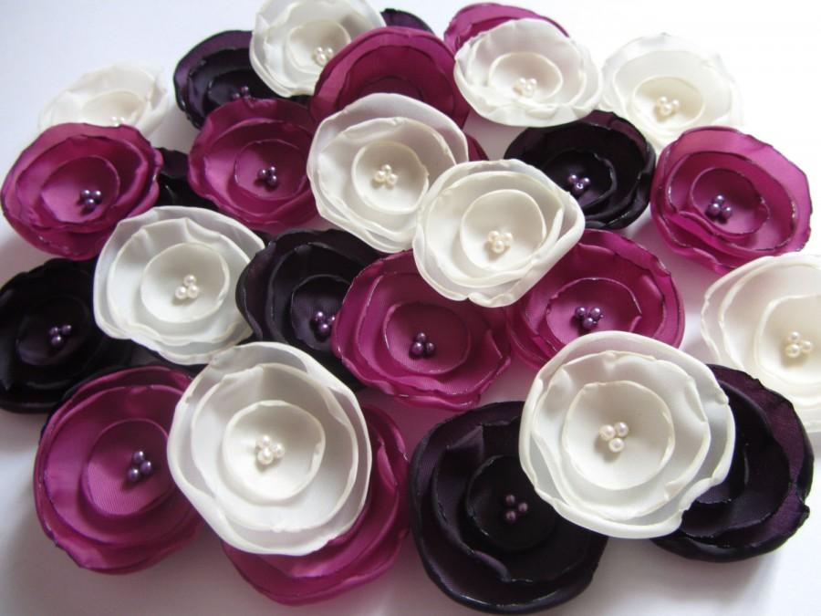 زفاف - Wholesale fabric flowers Wedding table decorations Purple wedding flowers fuchsia purple weddings bridesmaids ivory wedding favors