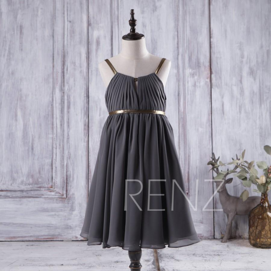 d2e0bb67173 2016 Charcoal Gray Junior Bridesmaid Dress