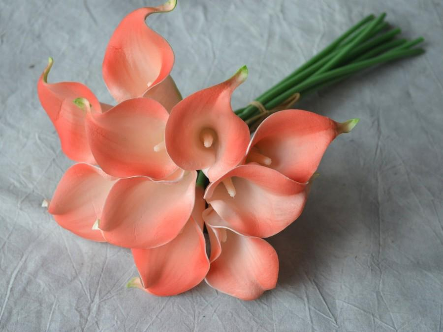 10 Coral Calla Lilies Real Touch Flowers DIY Wedding Bouquets Coral ...