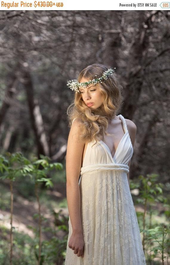 Mariage - BLACK FRIDAY SALE 20% Short lace wedding dress, short bridal dress, white lace dress, ivory Infinity dress, knee length infinity wedding dre
