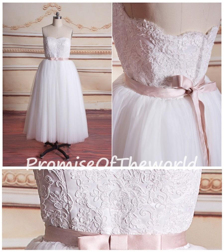 Ivory semi sweetheart short wedding gown blush waist belt for Ivory wedding dress belt