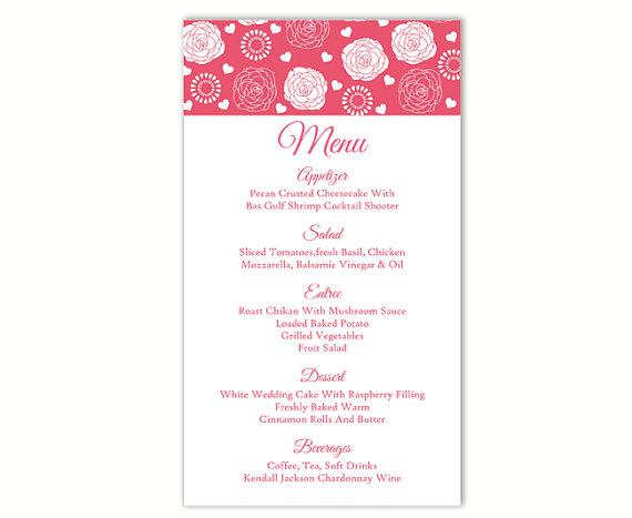 زفاف - Wedding Menu Template DIY Menu Card Template Editable Text Word File Instant Download Pink Menu Rose Menu Template Printable Menu 4 x 7inch