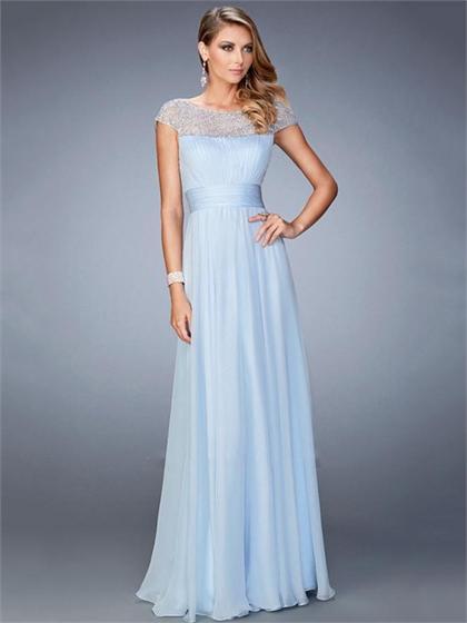 Wedding - Graceful A-line Gathered Bodice Cap Sleeves Beaded Chiffon Prom Dress PD3304