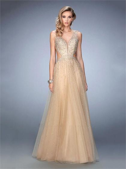 Свадьба - Captivating Tulle with Sheer Plunging Neckline Open Back Prom Dress PD3308