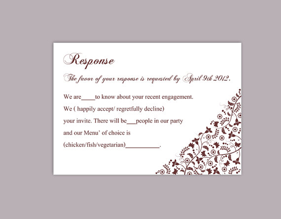 زفاف - DIY Wedding RSVP Template Editable Word File Download Rsvp Template Printable RSVP Cards Wine Red Rsvp Card Template Elegant Rsvp Card