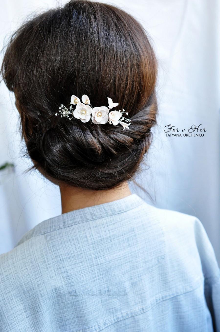 Hochzeit - wedding hair accessory Ivory wedding hairpiece floral headpiece flower hair comb Ivory hair accessory pearl bridal Hair comb Pearl hair comb
