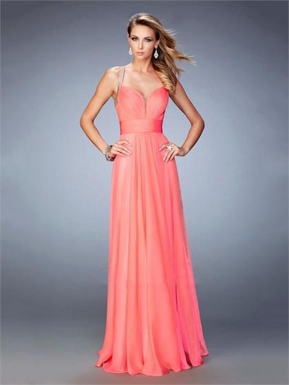 زفاف - Beautiful A-line Plunging Neckline Open Back Beaded Straps Chiffon Prom Dress PD3300