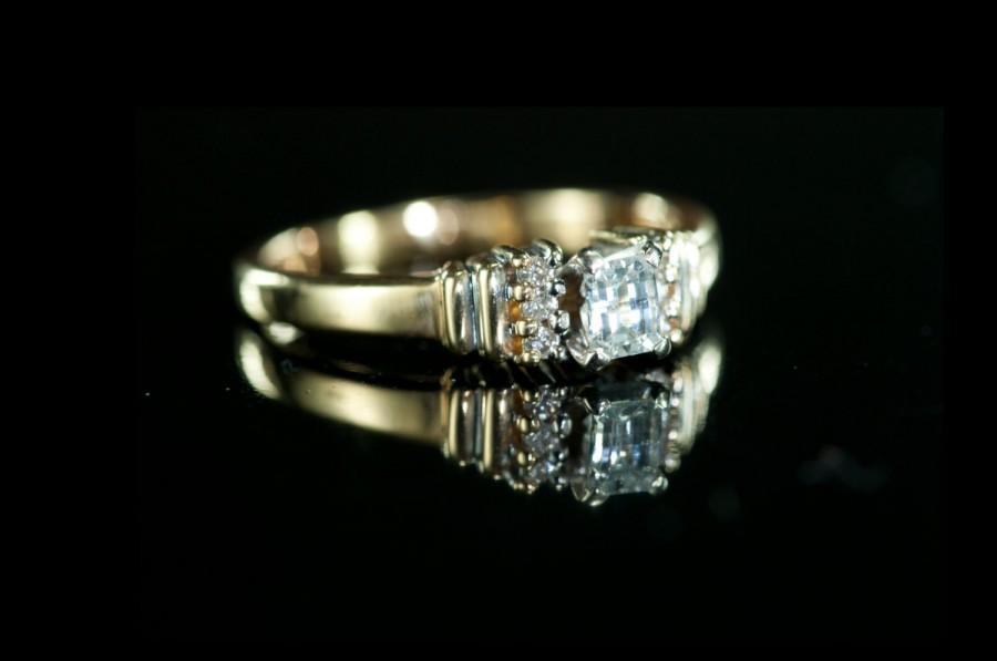 زفاف - BLACK FRIDAY SALE - Eclectic diamond - vintage gold diamond engagement ring