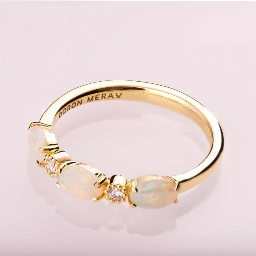 زفاف - Opal engagement ring, Opal Half Eternity ring, Opal Jewelry, Unique Engagement ring, Australian Opal Ring, Opal Diamond ring, eternity band