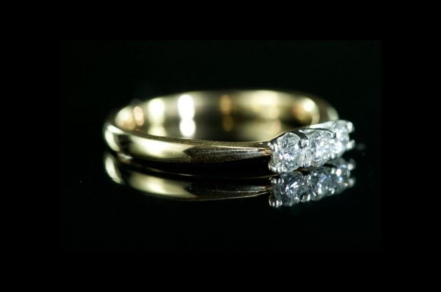 زفاف - BLACK FRIDAY SALE - Diamond Trilogy - vintage gold engagement ring