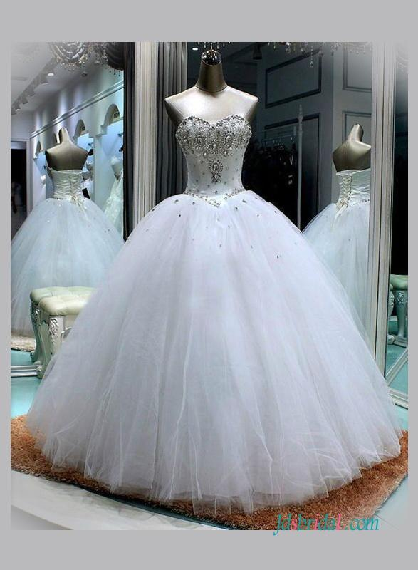 Sweetheart Neckline White Princess Ball Gown Wedding Dress 2617469