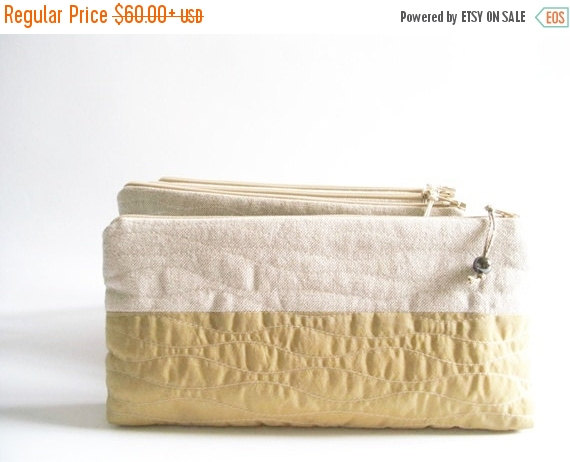 Hochzeit - SALE 20% OFF Wedding Clutches Dark Khaki, Set of 3, Clutch Wristlets, Rustic Bridesmaids Bags, Bridal Shower Gifts, Cosmetic Purses