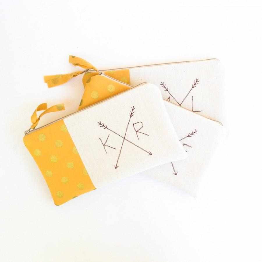 Hochzeit - Gold Bohemain Clutches, Set of 3 Bridesmaid Monogram Bags with Crossed Arrows, Bohemian Wedding Bags MADE TO ORDER