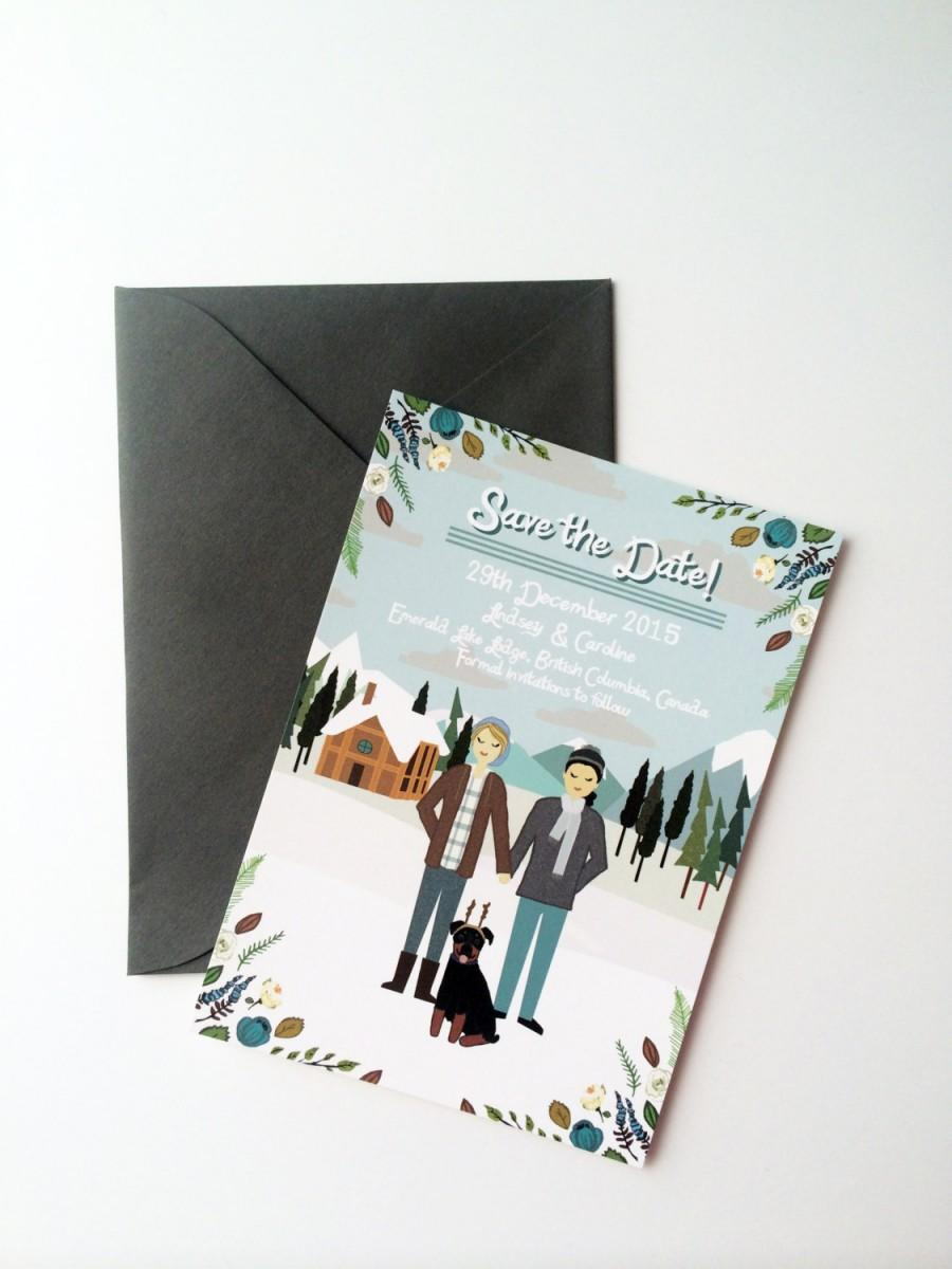 Hochzeit - BLACK FRIDAY SALE - Save the Date : Custom Illustrated, Design Fee