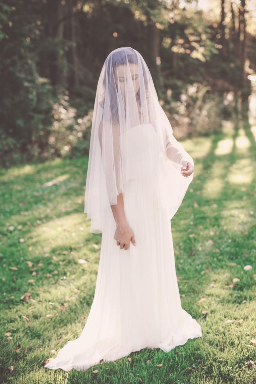 Hochzeit - silk drop veil, fingertip length silk veil, silk wedding veil, silk bridal veil, silk circle veil, silk fingertip veil - OPHELIA