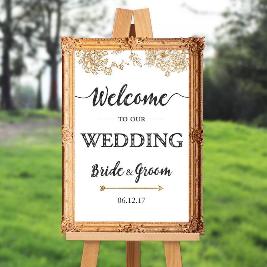 Wedding - Wedding welcome sign - welcome to our wedding - PRINTABLE - 16x20 - 18x24 - 20x30 - 24x36