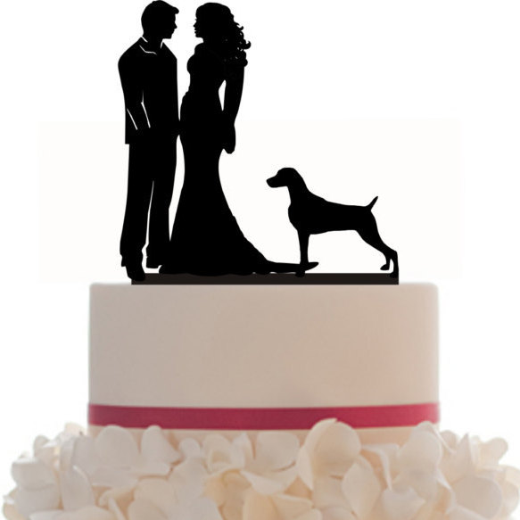 Mariage - Custom Wedding Cake Topper  WITH any PET SILHOUETTE, Removable Spikes and free base