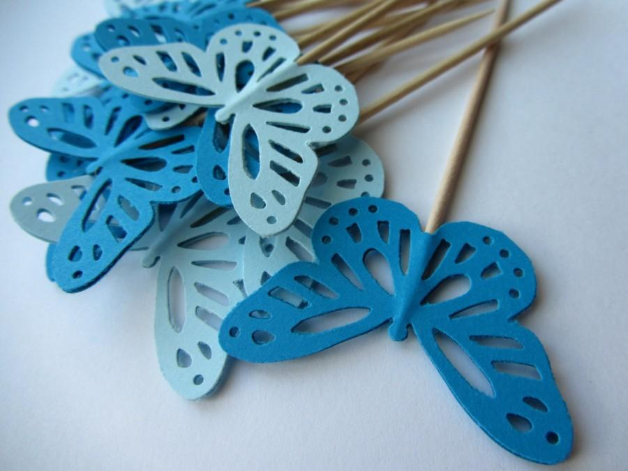 butterfly cupcake toppers blue wedding cupcake toppers party
