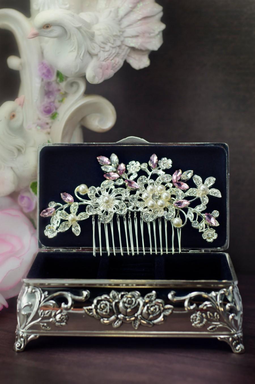 Mariage - blush bridal hair comb, pink crystal hair comb, light pink swarovski crystal hair comb, blush rhinestone hair comb, blush wedding hair comb