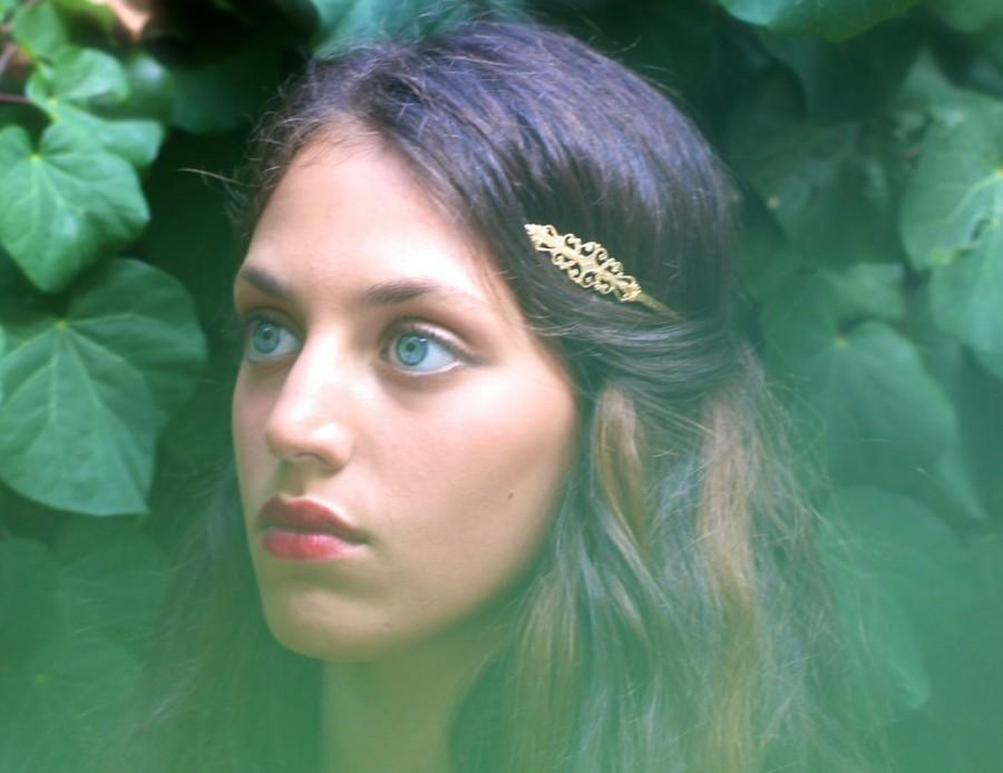 Mariage - Marques Greek Goddess Headband, Princess Headband, Back Headband, Bridal Wreath, Golden Tiara Royal Crown, Delicate Halo, Hand Made, For Her