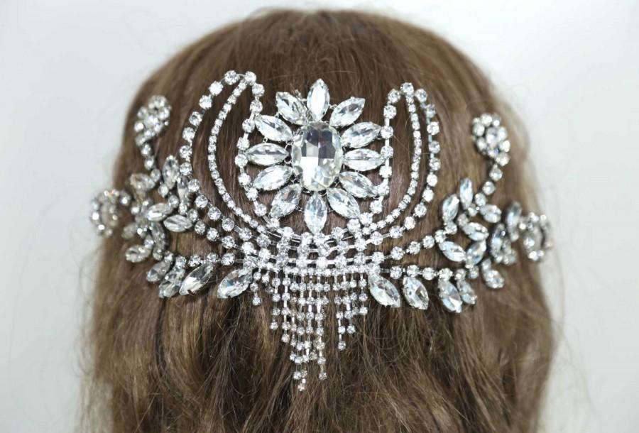 Mariage - Wedding Headpiece, Back Hair Piece, Bridal Hair Accessory, Swarovski Crystal Hair Chain, Draped Wedding Headpiece, Vintage Hair Comb