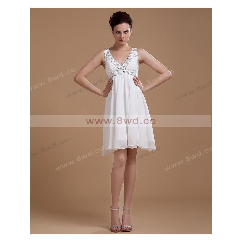 Свадьба - By Charlotte A-line V-neck Sleeveless Short/Mini Chiffon Short Wedding Dress  In Canada Wedding Dress Prices - dressosity.com