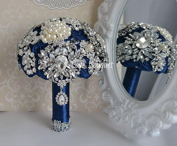 Wedding Brooch Bouquet Navy Blue Brooch Bouquet Silver Wedding
