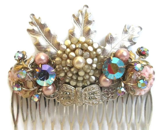 Hochzeit - Wedding Hair Comb Vintage Styled Hairpiece Spring Silver Lavender Hairpin Accessories