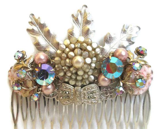 Hochzeit - Wedding Hair Comb Vintage Styled Hairpiece Spring Silver Lavender Hairpin Accessories