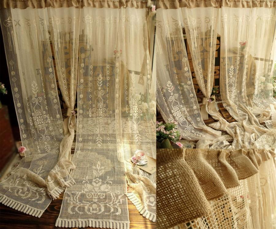 "Mariage - 72"" ONE --ANTIQUE rose FRENCH style Victorian Style French Lace Window Curtain Panel Burlap Ruffle Cream"