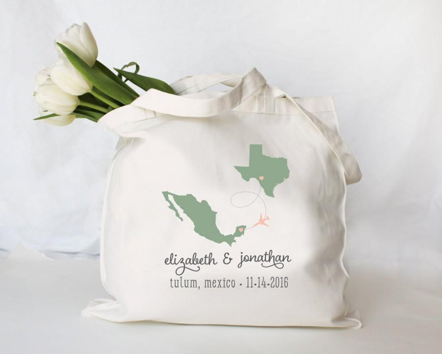 Mariage - Custom Personalized Destination Wedding Tote, Wedding Welcome Tote, Wedding Welcome Bag, Custom Wedding Tote Bag, any city state or country