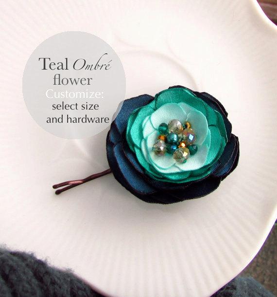 Hochzeit - Ombre Teal Mint Jade Hair Pin, Aqua Blue Green Bridesmaid Hair Accessories, Teal and Gold, Silk Flower Hair Clip, Teal bridal Hair Flower