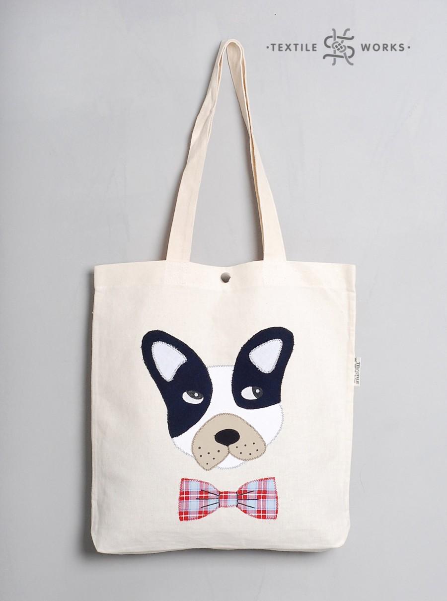 Wedding - Dog Tote Bag. Handmade Fabric Bag with Dog Applique. Textile Eco Bag. Shopper. Dog Gift. Shoulder Bag. Cotton Bag. Animal Hipster Canvas Bag