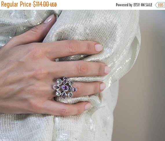 Wedding - 30% SALE Statement ring made of  purple Amethyst and aquamarine stones - 925 sterling silver ring
