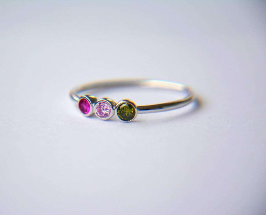 Wedding - Birthstone Ring- 3 Birthstone Ring- Mothers Ring, Custom Ring- Custom Birthstone Ring-Family Ring- Family Birthstone Ring- Personalized Gift