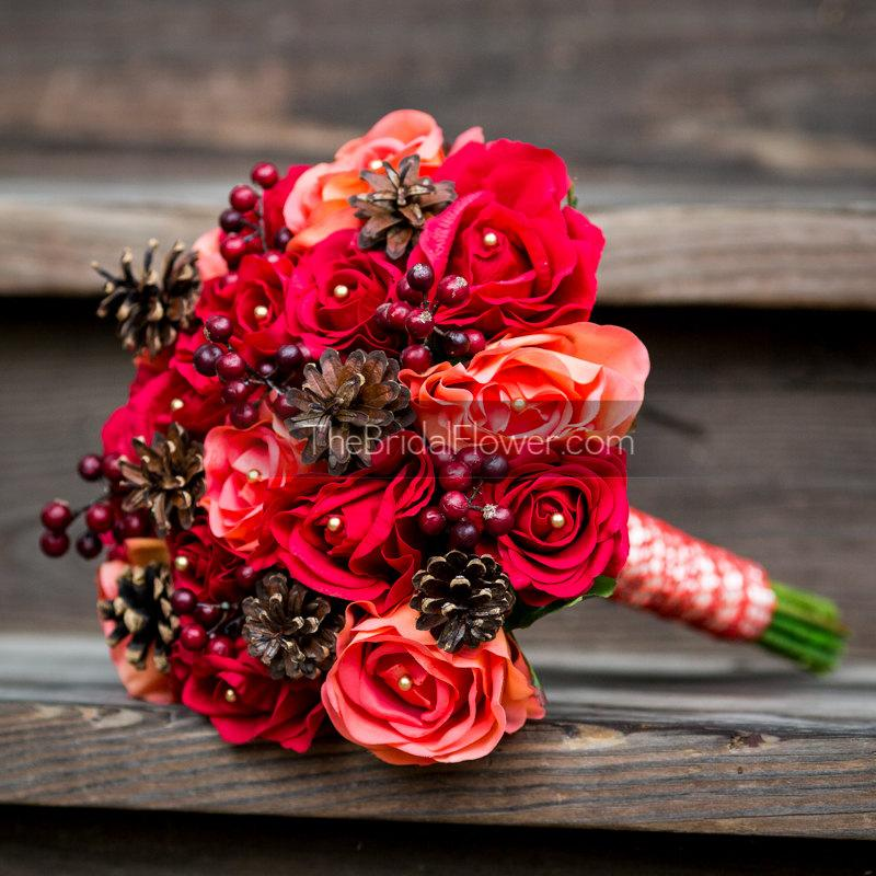 Mariage - Ready to ship Red coral orange fall or winter bouquet natural pine cones red cranberries berry accent gold pearls vermont rustic wedding