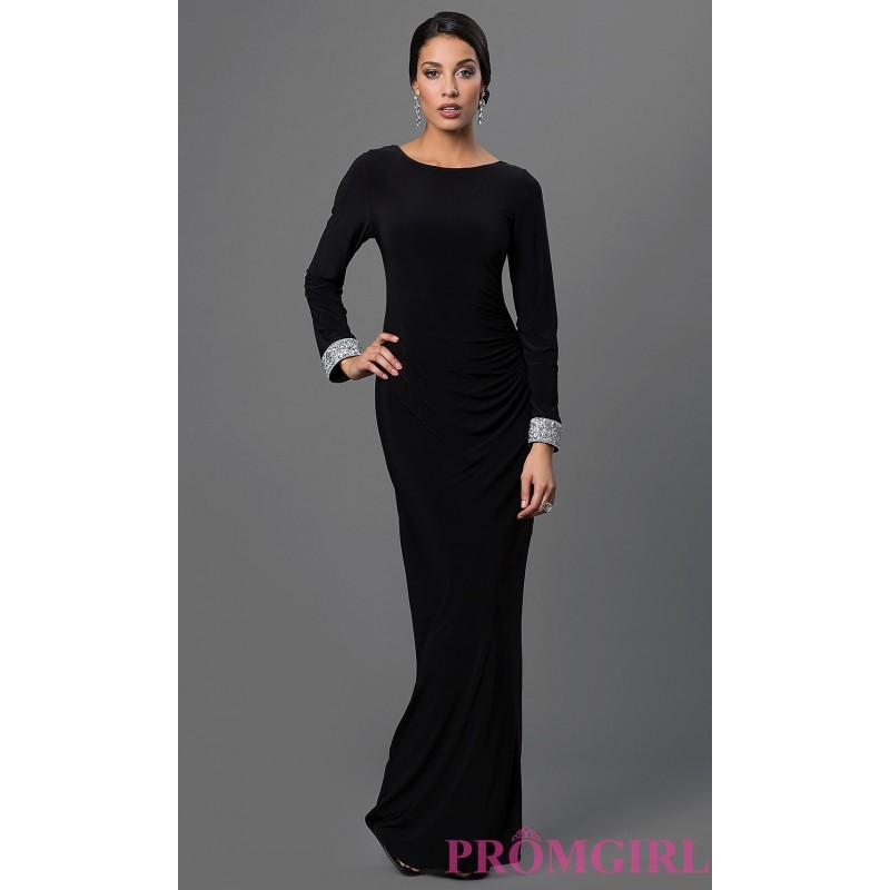 Black Long Sleeve Open Back Dress By Marina - Discount Evening ...