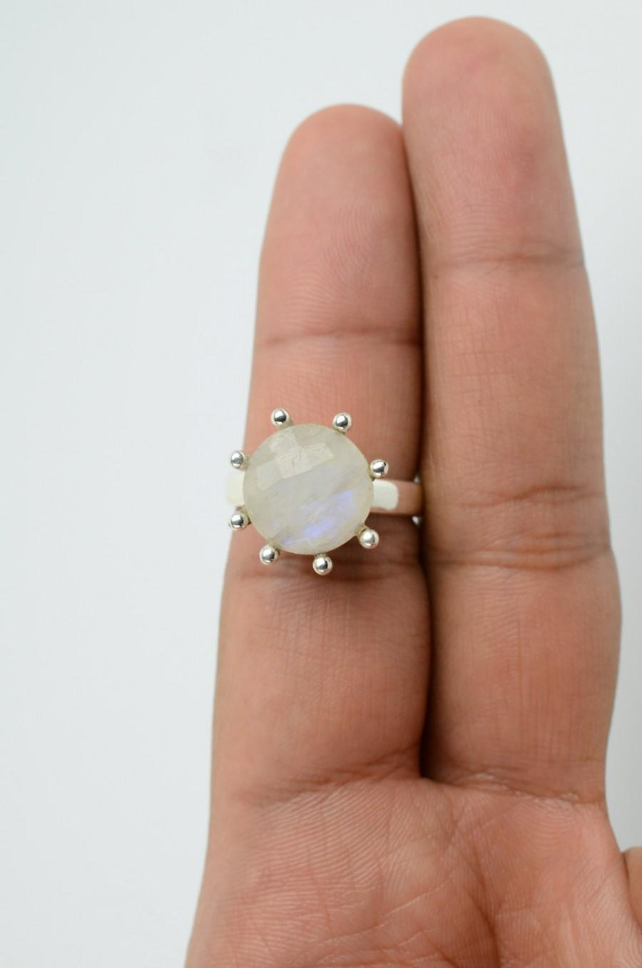 Mariage - Faceted Rainbow Moonstone Engagement Ring Sz 7 Sterling Moonstone Ring Unique Engagement Ring Bohemian Engagement Ring  Gypsy Engagement