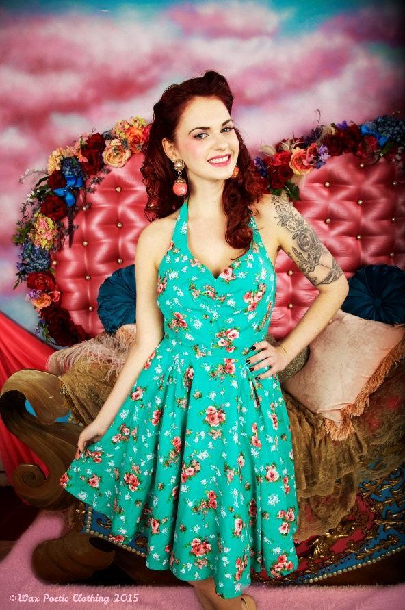 زفاف - Rosemary floral halter pinup vintage style swing dress