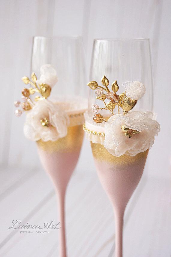 زفاف - Wedding Champagne Flutes Wedding Champagne Glasses Toasting Flutes Gold Blush Wedding