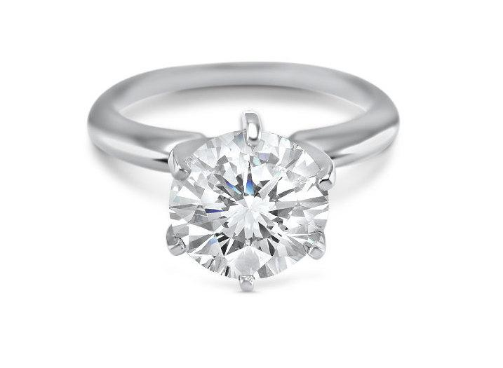 a7f9109d64dc63 Cubic Zirconia Engagement Ring- Solitaire engagement ring -14K Solid White  Gold 2 Carat Round SWAROVSKI CZ -6 Prong- cz solitaire ring