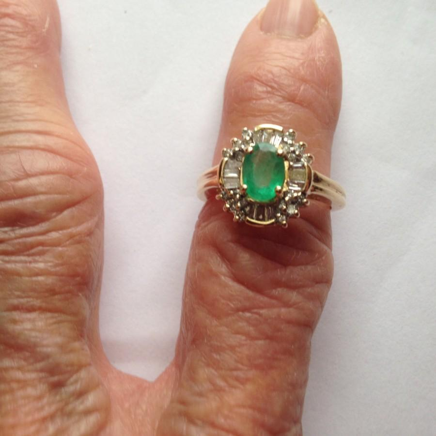 Mariage - Natural Emerald and Diamond Halo Ring 1.41Ctw Yellow Gold 14K 4.7gm Size 7  Engagement Wedding May Birthstone