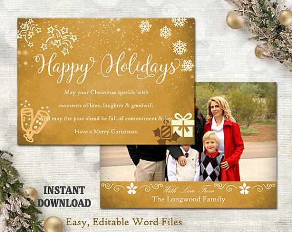 Christmas Card Template - Holiday Greeting Card - Gold White ...