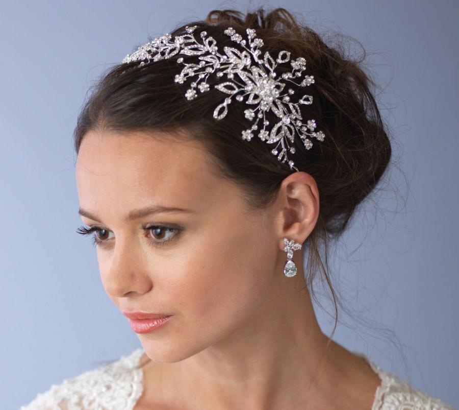 Mariage - Floral Rhinestone Bridal Headband, Bridal Accessories,Elegant Bridal Side Headband, Modern Bridal Headpiece,Wedding Headband ~TI-3244