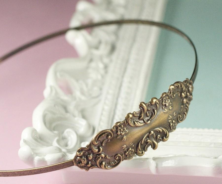 Mariage - Bronze bridal headband brass floral romantic antique style victorian wedding hair accessory vintage inspired