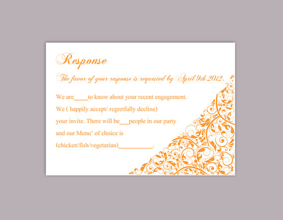 Mariage - DIY Wedding RSVP Template Editable Word File Instant Download Rsvp Template Printable RSVP Cards Orange Rsvp Card Template Elegant Rsvp Card