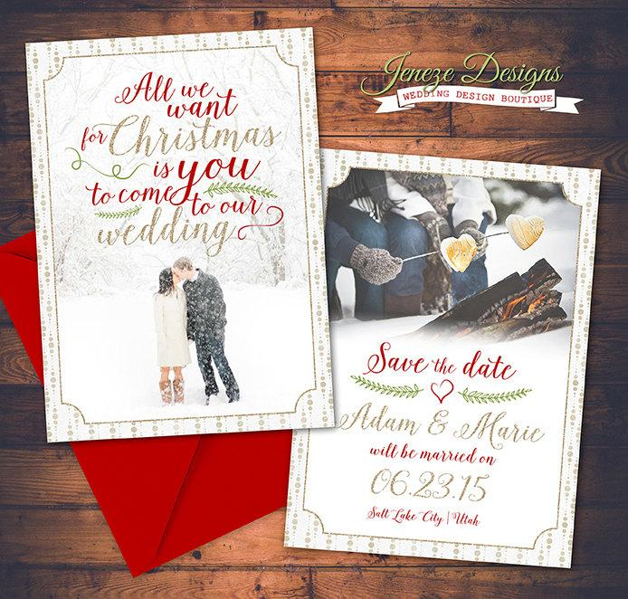 Save The Date Christmas Cards.Holiday Photo Save The Date Card Say Merry Christmas And
