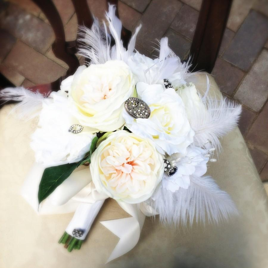 Mariage - Vintage Elegance Silk Bridal Bouquet in Shades of White, Ivory & Blush - Ostrich Feathers, Roses, Peonies, Rhinestone Brooch Bouquet Accents