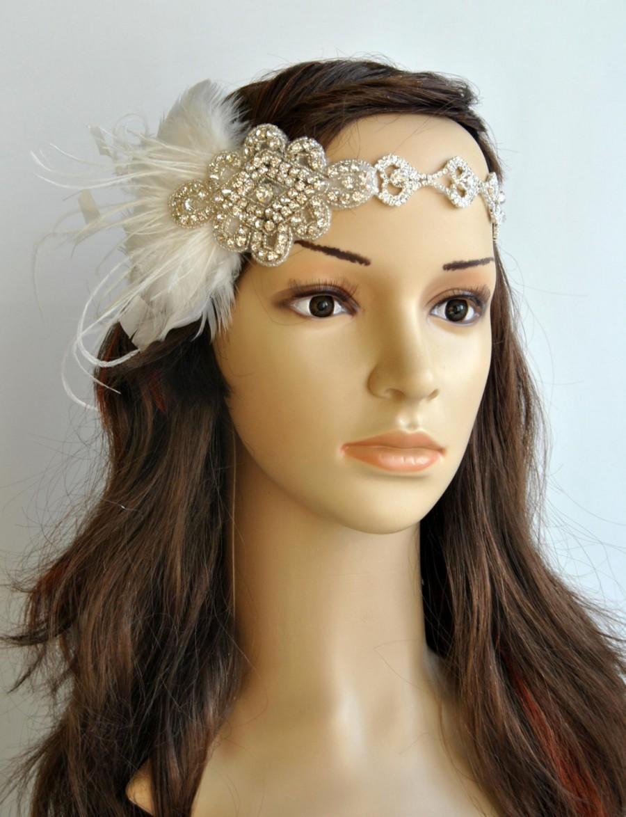 زفاف - Rhinestone 1920s Headpiece, Flapper headband, Flapper headpiece, 1930's, The Great Gatsby, Rhinestone crystal flapper headpiece headband